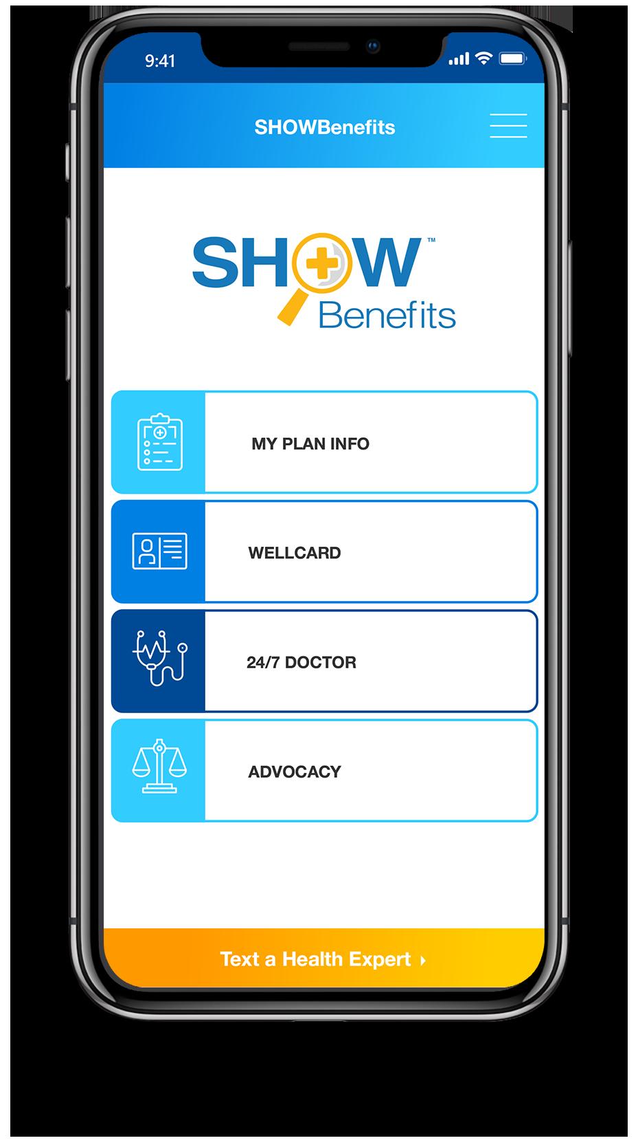 SHOWBenefits Phone Application Home Screen